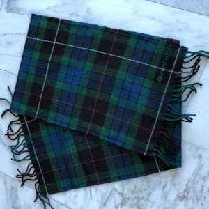 Givenchy 100% Lambswool Plaid Scarf Blue, green